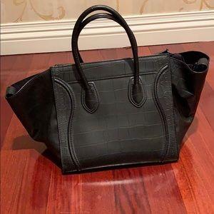 Celine Bags - Celine croc stamp black large phantom